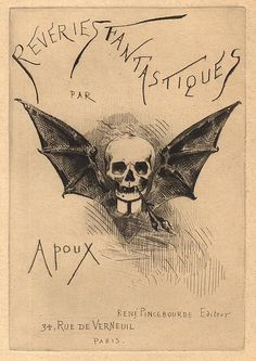 """Cover Art for """"Rêveries Fantastiques"""", a book gathering prints by artist Joseph Apoux, published by Rene Pincebourde in Happy Halloween, Halloween Labels, Halloween Art, Memento Mori, Vintage Halloween Cards, Vintage Illustration Art, Halloween Illustration, Dance Of Death, Macabre Art"""