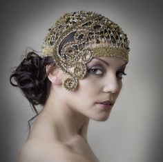 Golden Swarovski Cocktail Hat Special Event Hat by 4youNeckArt