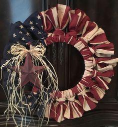 Primitive Antiqued American Flag Bandana Wreath America Patriotic Military in Antiques, Primitives Patriotic Wreath, Patriotic Crafts, July Crafts, Summer Crafts, 4th Of July Wreath, Americana Crafts, Country Crafts, Rustic Americana Decor, Wreath Crafts