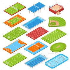 Buy Sport Fields Isometric Set by macrovector on GraphicRiver. Sport clubs football soccer fields isometric icons collection with basketball tennis courts boxing ring swimming pool. Isometric Art, Isometric Design, Equipement Football, Sport Park, Architecture Collage, Sports Complex, Icon Collection, Sports Clubs, Vector Photo