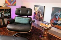 Eames Lounge Chair & Eames Walnut Stool eclectic home office