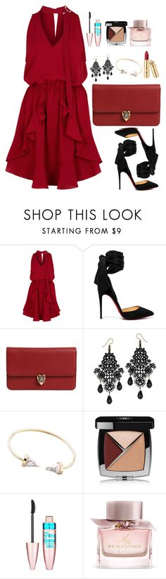"""Untitled #588"" by alibasicamina ❤ liked on Polyvore featuring Finders Keepers, Christian Louboutin, Alexander McQueen, Chanel, Maybelline and Burberry"