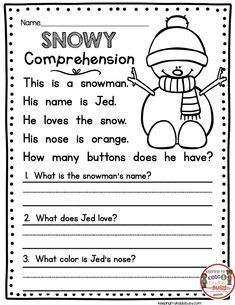 January No Prep Math & Literacy Pack – FREEBIES — Keeping My Kiddo Busy READING PASSAGE with comprehension questions – snowman – kindergarten and first grade literacy skills Grade 1 Reading Worksheets, First Grade Reading Comprehension, First Grade Writing, Reading Comprehension Worksheets, Teacher Worksheets, Comprehension Questions, Reading Passages, Kindergarten Worksheets, Reading For Grade 1
