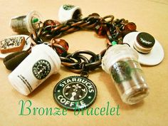 Starbucks coffee themed miniature chunky cute kawaii bracelet made from resin and polymer clay