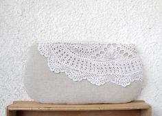 Linen and Vintage Doily Clutch Purse