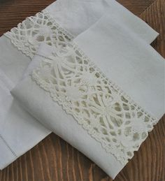 OOAK White Linen Handtowels repurposed with vintage Cluny lace by marypearlsvintage