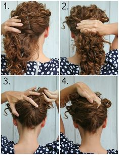 Easy Hairstyles For Curly Hair Simple 10 Easy Hairstyle Tutorials For Naturally Curly Hair  Pinterest