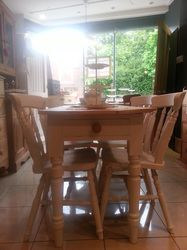 Old Pine Table with legs painted in Farrow & Ball 'Strong White' and four chairs £350