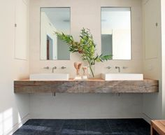 Chunky Timber Vanity Bench Top Bathrooms Amp Power Rooms Pertaining To Recycled Bathroom Vanities Renovation