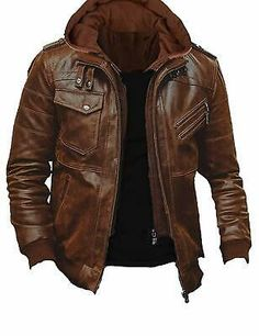 Ideas for leather motorcycle jacket outfit casual Vintage Leather Motorcycle Jacket, Lambskin Leather Jacket, Faux Leather Jackets, Leather Men, Motorcycle Outfit, Motorcycle Fashion, Real Leather, Men's Motorcycle Jacket, Hooded Leather Jacket