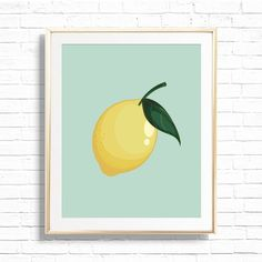 Lemon Citrus Kitchen Home Decor Art Print Printable Lemon | Etsy Classroom Wall Decor, Playroom Art, Nursery Wall Decor, Nursery Art, Lemon Art, Online Printing Services, Art File, Wall Signs, Printable Art