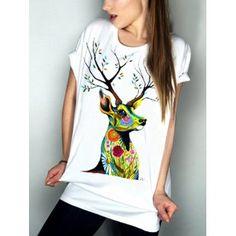 3d723e31ef72 T-Shirt Casual Motif Elk à manches courtes col rond Femmes  s Magasin En