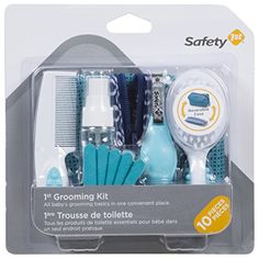 Safety 1st 1st Grooming Kit, Arctic Blue - Keep baby well groomed while on the go with baby's 1st grooming kit by Safety 1st. The kit has 10 pieces including a soft grip brush, soft grip comb, spritzer bottle, fold up nail clippers, 5 emery boards and reversible case. 10 pieces including a reversible case