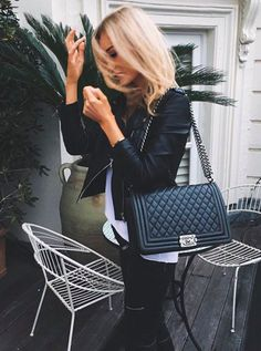 black leather + white