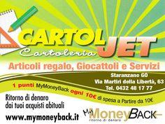 CartolJet di De Pirro Caterina è la cartoleria dove trovi tante idee e articoli regalo per i tuoi cari, giocattoli, prodotti di cancelleria e che ti offre una vasta gamma di servizi di vario genere.  Grazie a MyMoneyBack hai 1 punto MyMoneyBack ogni 10 € di spesa a partire da 10 € di acquisti!! I tuoi prodotti di cartoleria guadagnando punti da cambiare in denaro contante!  @Cartoljet #MyMoneyBack
