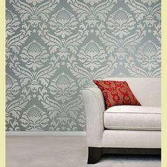 Damask Stencil Abundance - Reusable wallpaper stencils - great for DIY decor by Cutting Edge stencils, http://www.amazon.com/dp/B00AAZVK72/ref=cm_sw_r_pi_dp_X7cjsb1MGVBAK