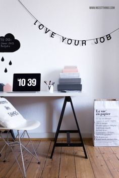 "Home office inspiration #decor #homeoffice Love the banner and the, "" seems like Eames"" pillow!"