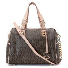 Michael Kors Medium Grayson Logo Perforated Satchel with Strap Brown