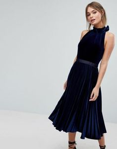Ted Baker Pleated Midi Dress in Velvet