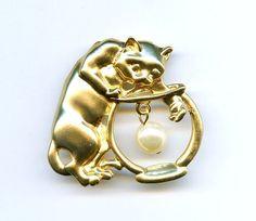 Vintage Kitty Cat Fishbowl Fx Pearl Gold Tone Pin #NotSigned