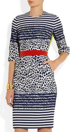 White Black Long Sleeve Leopard Striped Dress