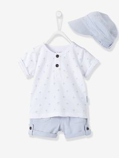 Baby Boys Cap, Bermuda Shorts & Printed Polo Shirt Outfit Set - Printed white - 1