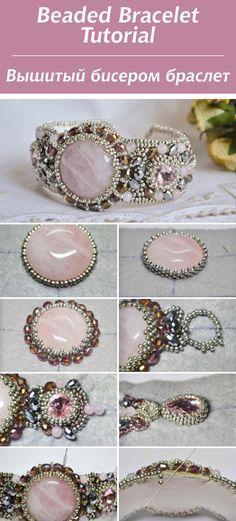 Вышитый бисером браслет с розовым кварцем / Beaded Bracelet Tutorial #bead #tutorial