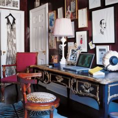 Can we take a minute to bow down to Miles Redd for combining zebra & leopard print AND bringing the blue from the desk onto the zebra?? Plus, a gallery wall. More is more!