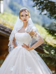 Wedding Dress - Sans Pareil Bridal Collection 1060 - Floral appliques on sheer sleeves and neckline of strapless wedding gown Bridal Dresses, Wedding Gowns, Bridal Stores, Layered Skirt, Lace Flowers, Buy Dress, Bridal Collection, 3 D, Bridesmaid