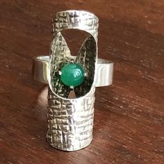 Elis Kauppi, Kupittaan Kulta, Finland, chrysoprase and sterling silver ring, US size gre Piece Of Me, Beautiful Earrings, Finland, Sterling Silver Rings, Jade, Jewels, Texture, This Or That Questions, 1960s