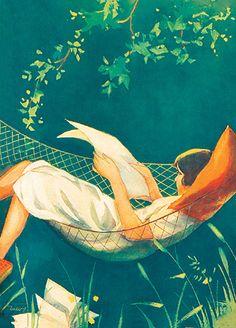 Illustration by Martta Wendelin (Finnish, Love the hammock People Reading, Book People, Reading Art, Woman Reading, Reading Books, Inspiration Art, I Love Books, Female Art, Childrens Books