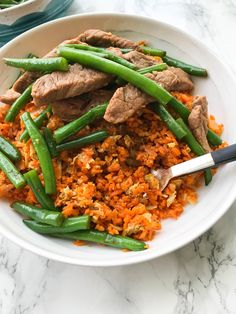 Pork and Green Bean Stir Fry with Sweet Potato Fried Rice Sweet Potato Rice, Sweet Potato Recipes, Chicken Recipes, Healthy Food Blogs, Healthy Eating, Healthy Recipes, Sweet Potato Spiralizer Recipes, Pork And Green Beans, Fried Potatoes