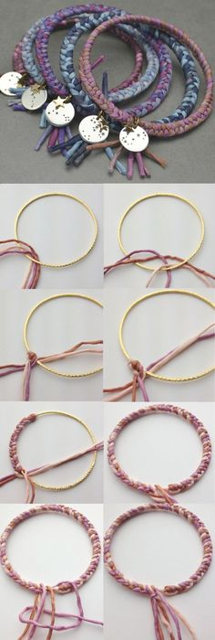How to DIY:: Braided Bangles. Add your favorite charm to a colorful braided bangle and stack them for a boho look
