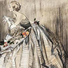 Jean Demarchy, fashion illustration, London, 1953.