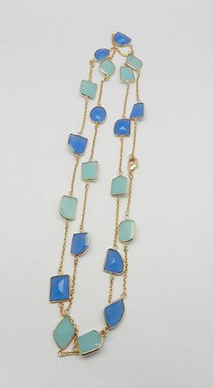 Aqua & Blue Chalcedony Rose Gold Plated Brass Long chain gemstone Necklace