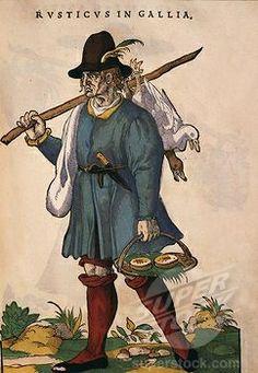 Stock Photo #4069-2386, French peasant carrying cheeses, 1577 engraving from Habitus praecipuorum popularum