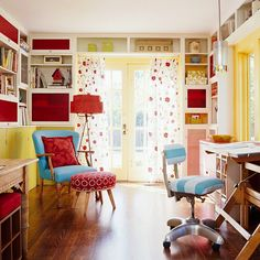 "Color Cues    Color blocks visually separate the activity areas in this multipurpose room. Yellow marks the ""grownup"" desk and window frames, red equals storage, and chartreuse green signifies kids' craft and play space. Cool turquoise keeps the warm color from being chaotic."
