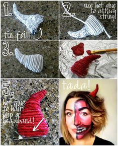 Easy Halloween Costume DIY Devil Horns : DIY Devil Horns Easy Halloween Costume DIY Devil Horns: Halloween is my absolute favorite! I absolutely LOVE dressing up! Some people don't love it and I don't get it. Halloween Costume Diy, Devil Makeup Halloween, Halloween Inspo, Fete Halloween, Diy Costumes, Halloween Crafts, Witch Costumes, Vintage Halloween, Halloween Punch