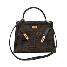 Hermes Kelly 28 handbag in Porosus crocodile