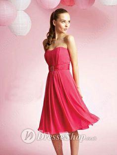 A-line Strapless Chiffon Knee-length Sleeveless Crystal Detailing Prom Dresses -£51.29