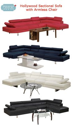 Hollywood Adjustable Sectional Sofa with Extra Armless Chair by Urban Cali. Exclusive to Wholesale Furniture Brokers. Ultra modern design. Available in red and blue blended linen and white and black faux leather. Choose with chaise on right or left side of the sofa. $1,349.99 and includes FREE Delivery in Canada. Visit website for more information or call us at 1-866-595-8930.