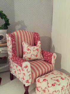 BIN 5 x Mini Blue Floral Living Room Set For 1:12 Miniature Dollhouse Furniture