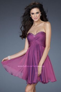 Embellished Chiffon Short Purple Baby doll Sweetheart Evening Dress In Stock Short Semi Formal Dresses, Open Back Prom Dresses, Homecoming Dresses, Strapless Dress Formal, Short Dresses, Dress Prom, Dresses 2013, Dance Dresses, Homecoming 2014