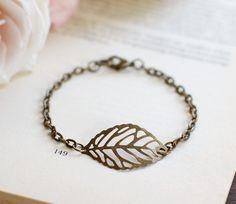 Leaf Bracelet Antique Bronze Filigree Leaf Bracelet by LeChaim, $15.00