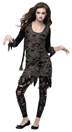 Teen Girls Zombie Costume - This is a teen zombie costume. Rise from the dead is this cute dress. This is a two-piece costume with a dress and leggings. The dress is soft and stretchy. The cuffs and hem of the dress is cut to look torn. The dress is two layers with one layer being opaque black fabric and the layer over top being torn and hole-ridden knit fabric. From the shoulders are two pieces of fabric to make the dress look more ragged. #zombie #yyc #costume #teen #calgary