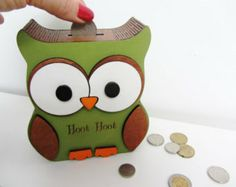NICOLE Personalized Wooden Owl Money box /coin bank / piggy bank