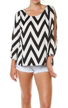 Black White Chevron Print Open Sleeve Slit Back Blouse Top $24.95