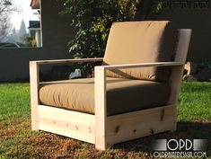 DIY Outdoor furniture. The site also has a coffee table and love seat. Make it and add cushions.