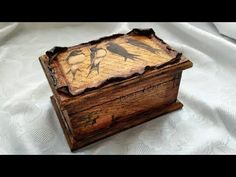 Decoupage For Beginners - Antique Jewelry Box - Decoupage Box With Air Dry Clay Cold Porcelain Tutorial, Decoupage Glass, Crackle Painting, Decoupage Tutorial, Aging Wood, Diy Bottle, Decorated Jars, Bottle Painting, Cardboard Crafts