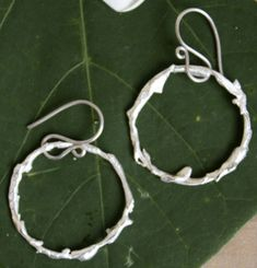 Boucles d'oreilles Dryade, bijou nymphe des bois en argent